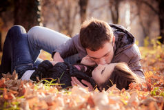 Kissing young couple in love Royalty Free Stock Image