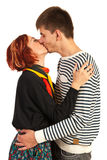 Kissing young couple Royalty Free Stock Images