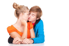 Kissing young loving couple Royalty Free Stock Photo