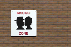 Kissing zone urban sign. In the wall, 3d illustration Royalty Free Stock Photos