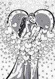 KissingLovers  man and woman.Black and white.Illustration.eps Royalty Free Stock Images