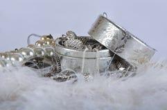 Kist met parelparels en zilveren ornamenten Stock Fotografie