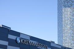 Kistamarkt/tentoonstelling en Scandic Victoria Tower stock afbeeldingen