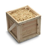 Kiste und Stroh stockfotos