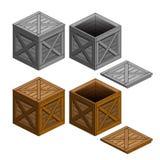 Kistenkasten-Gegenstandsammlung lokalisiert Lizenzfreie Stockbilder