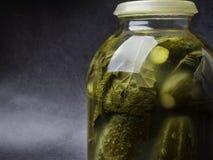 Kiszeni ogórki z ziele i pikantność, solony marynowany obraz stock