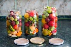 kiszeni słojów warzywa Tradycyjny marynowany jedzenie - tomatoe fotografia royalty free