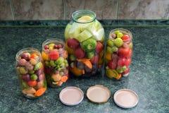 kiszeni słojów warzywa Tradycyjny marynowany jedzenie - tomatoe zdjęcie stock