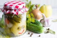 Kiszeni warzywa w słój zabawy szczęśliwym karmowym pojęciu na bielu stole Zdjęcia Royalty Free