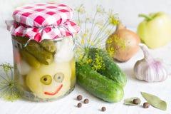 Kiszeni warzywa w słój zabawy szczęśliwym karmowym pojęciu na bielu stole Obraz Royalty Free