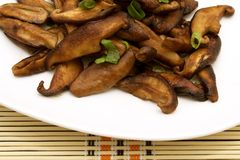 Kiszony shiitake na bielu talerzu, zakończenie zdjęcie royalty free