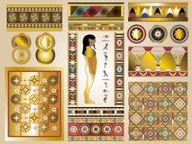 Kit égyptien antique de vecteur - milieux et éléments de cadres de frontières illustration de vecteur