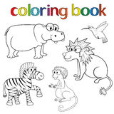 Kit of animals for coloring book Stock Photos