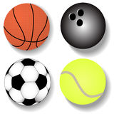 Kit atheletic ball basketball football tennis Stock Photos