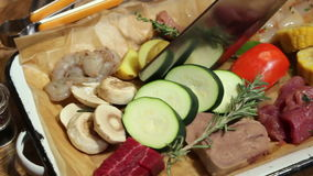 Kit for Barbecue BBQ Meat Platter And Vegetables stock video