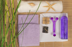 Kit body care, accessories for Spa on a bamboo Mat.  Stock Photo