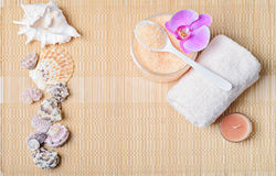 Kit body care, accessories for Spa on a bamboo mat. Top view Stock Photography