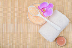 Kit body care, accessories for Spa on a bamboo mat. Top view Royalty Free Stock Images