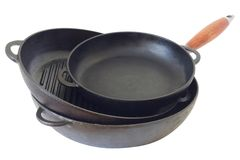 A kit of cast iron pans Stock Photography