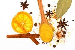 Kit chaud d'épices de boissons Cuillère avec les épices, l'orange sèche, le bâton de cannelle, le cardamome et la noix de muscade Image libre de droits