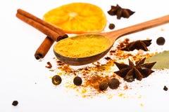 Kit chaud d'épices de boissons Cuillère avec les épices, l'orange sèche, le bâton de cannelle, le cardamome et la noix de muscade Photos libres de droits