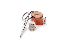 Kit consists of cutting and sewing scissors, thimb Stock Photos
