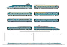 High speed train kit. Kit contains: 1st and 2nd class motor unit, 1st and 2nd class coach car, one 1st/2nd clas coach car, one dining car, railroad track Royalty Free Stock Image
