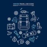 Kit d'icônes de voyage d'hiver illustration libre de droits