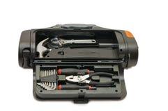 Kit d'utilitaires de divers outils dans le cadre Photo stock