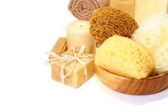 Kit de accesorios de la higiene del baño y de la limpieza Imágenes de archivo libres de regalías