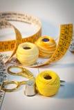 Kit de costura en amarillo, retrato Imagenes de archivo