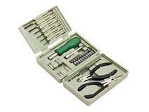 Kit de herramienta en un rectángulo plástico Fotografía de archivo