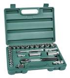Kit de la llave inglesa y de los dígitos binarios en caja de herramientas verde Imagen de archivo libre de regalías