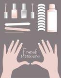 Kit de la manicura francesa stock de ilustración