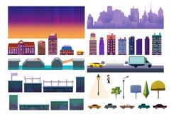 Kit de niveau de jeu de ville de nuit Collection de vecteur pour le jeu vidéo sur le fond blanc illustration libre de droits