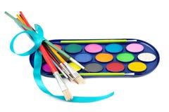 Kit de peintures et de balais d'aquarelle Photo libre de droits
