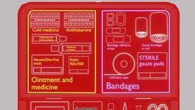 Kit de primeiros socorros vermelho de Infographics vídeos de arquivo
