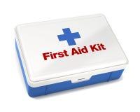 Kit de primeros auxilios aislado en blanco Foto de archivo libre de regalías