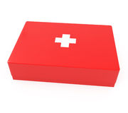 Kit de primeros auxilios aislado en blanco Imagenes de archivo