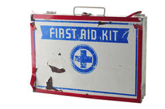 Kit de primeros auxilios viejo Imagen de archivo libre de regalías