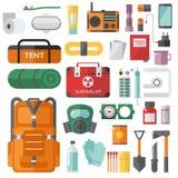 Kit de secours de survie pour des objets de vecteur d'évacuation réglés Images libres de droits