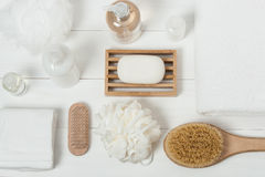 Kit de station thermale Shampooing, barre de savon et liquide Gel de douche Aromatherapy Photographie stock libre de droits