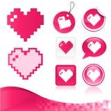 Kit del diseño del corazón del pixel Imágenes de archivo libres de regalías