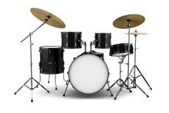 Kit del tambor negro aislado en blanco Imágenes de archivo libres de regalías