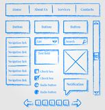 Kit di stile di abbozzo di disegno di Web site Immagini Stock