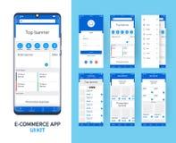 Kit en ligne de l'appli UI de commerce électronique pour l'appli mobile sensible avec la disposition différente de GUI comprenant illustration de vecteur