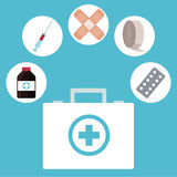 Kit first aid medicine medical icons. Vector illustration eps 10 Stock Photo