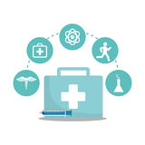 Kit first aid syringe service medical icons. Illustration eps 10 Stock Photo