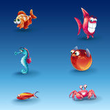 Kit of funny cartoon fishes Royalty Free Stock Photos
