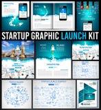 Kit graphique de démarrage de Lauch avec des pages Web d'atterrissage, couvertures de conception d'entreprise illustration libre de droits